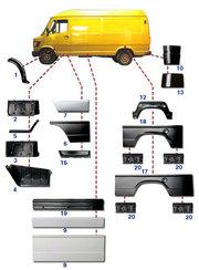 Кузовные запчасти к Т1 mercedes Bus 207-410 & Ford TRANSIT 1986-2006.
