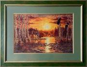Картина «Закат и утки», ручная работа,  вышивка.