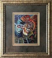 Картина «Маски», ручная работа,  вышивка.