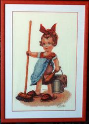 Картина «Помощница», ручная работа,  вышивка.