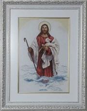 Картина «Христос»,  ручная работа,  вышивка.