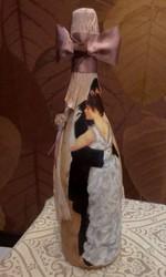 Декор свадебного шампанского. Ручная роспись,  декупаж.