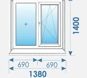 Окна Пвх 1380х1400 дешево профиль Rehau-13