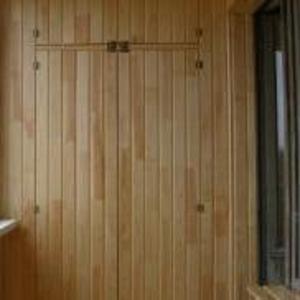 Обшивка балконов вагонкой. Утепление. Шкафы.