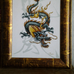 Картина «Дракон-цю», ручная работа,  вышивка.