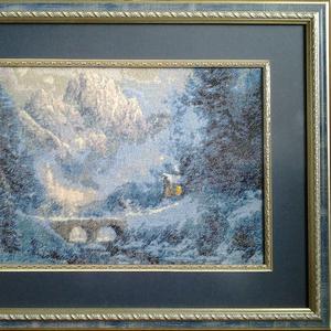 Картина «Зима в горах», гобелен ручной работы