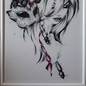 Картина «Вишневая роза»,  ручная работа,  вышивка.