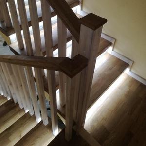 Лестница облицовка дубом бетонных ступеней