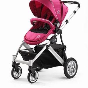 Коляска Baby Duli pink 2в1 (алюминиевая/черная рама) четырехколесная