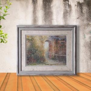 Картина «Испанский дворик»,  ручная работа,  вышивка.