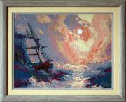 Картина  «Буря на море ночью»  ,   ручная работа,  вышивка.