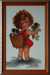 Картина  «Приятные хлопоты»,  ручная работа,  вышивка.