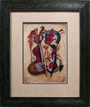 Картина «Около полуночи»,  ручная работа,  вышивка.