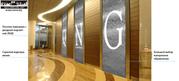 Водопады по стеклу с логотипом компании,  офисные перегородки
